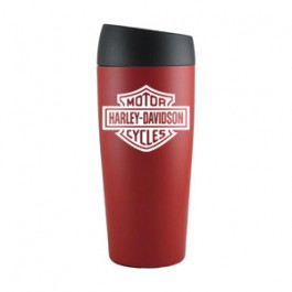 Red / Black 16oz Double Wall Push Top Stainless Tumbler