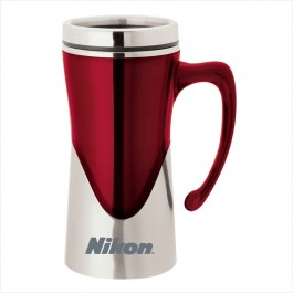 Red 14 oz. Laser Etched Curved Handle Mug