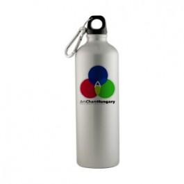 Silver / Black 25 oz Sport Flask Aluminum Water Bottle-Full Color
