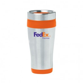 Silver / Orange 16 oz Color-Trimmed Stainless Steel Tumbler