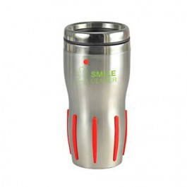 Silver / Red 16 oz Comfort Grip Stainless Steel Double-Wall Tumbler