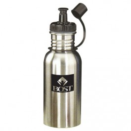 Silver 18 oz Stainless Steel Sports Bottle with Sports Cap