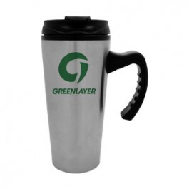 Stainless / Black 16oz Stainless Sport Driver Travel Mug