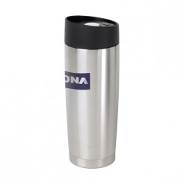 Stainless / Black 14 oz Button Lid Vacuum Desk Tumbler