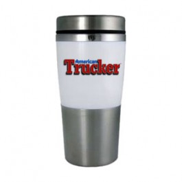 Stainless / White 14oz Acrylic Band Stainless Travel Tumbler - Full Color