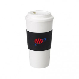 White / Black 16 oz Plastic Cup with Rubber Sleeve