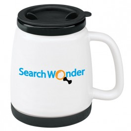 White / Black 18 oz. Ceramic Travel Coffee Mug
