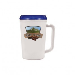 White / Blue 22 oz Thermal Coffee Mug (Full Color)