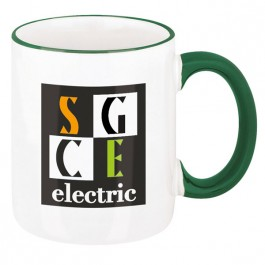 White / Green 11 oz. Two-Tone Ceramic Coffee Mug