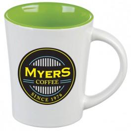 White / Green 12 oz. Citrus Ceramic Coffee Mug