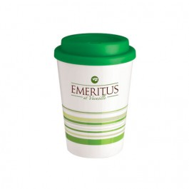White / Green 14 oz Striped Coffee Cup Tumbler