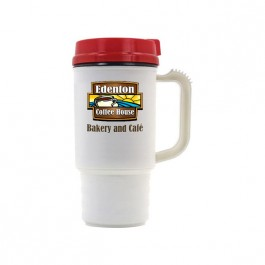 White / Red 14 oz Thermal Coffee Mug (Full Color)