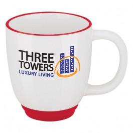 White / Red 11 oz. Two-Tone Bistro Coffee Mug