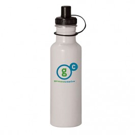 White 27 oz Wide-Mouth Aluminum Sports Bottle
