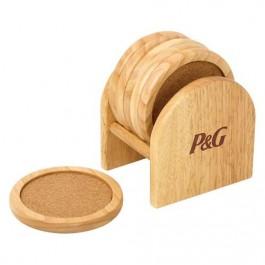 Wood 6 Pc Coaster Set