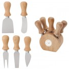 Wooden Base Cheese Set