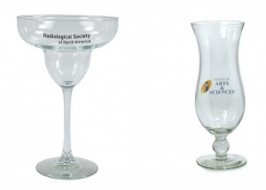 Two specialty drinking glasses - margarita and hurricane