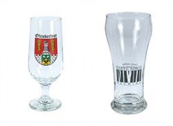 Two distinct beer glasses with promotional logos