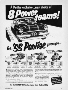 1955 Pontiac Print Ad: 8 Power Teams