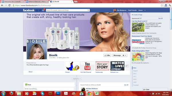 Biosilk's Facebook page helps build their online presence
