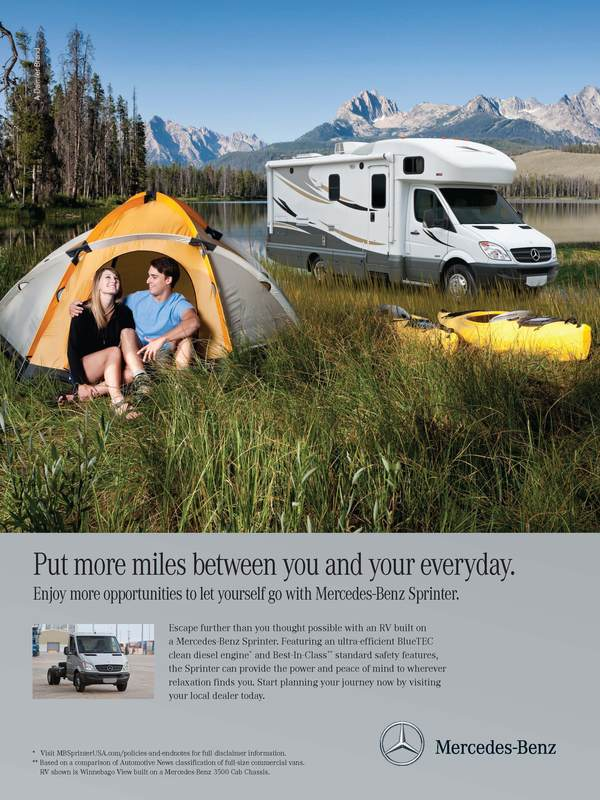 This print ad for an RV appeals to the audience with an emotional benefit.
