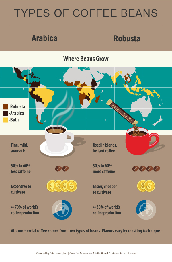 Where Different Types of Coffee Beans Are Grown - World Map Infographic