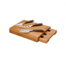 Bamboo 4 pc Laser Etched Bamboo Cheese Set