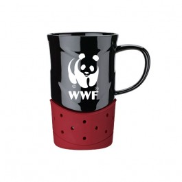 Black / Burgundy 14 oz. Ceramic Silicone Base Mug