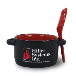 Black / Red 12 1/2 oz Hilo Ceramic Soup Mug with Spoon