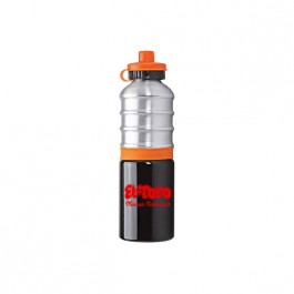 Black / Silver / Orange 25 oz. Ribbed Aluminum Water Bottle