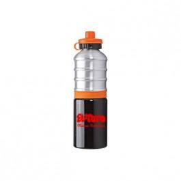 Black / Silver / Orange 25 oz. Ribbed Aluminum Water Bottle