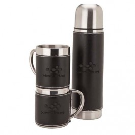 Black / Silver Debossed Sleeved Flask & Cup Set