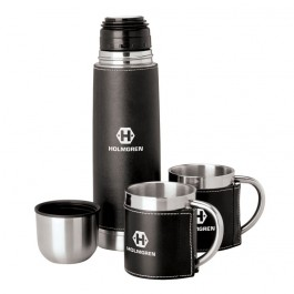 Black / Silver Sleeved Flask & Cup Set