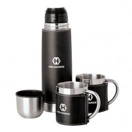 Black / Silver Sleeved Flask & Cup Set