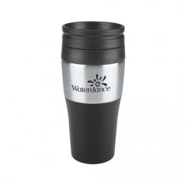 Black / Silver 2-Tone Stainless Tumbler with Plastic Lid
