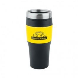 Black / Yellow 16 oz No-Slip-Grip Travel Tumbler