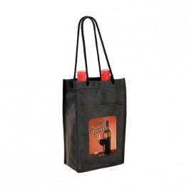 Black Non-Woven Double Bottle Wine Bag (Full Color)