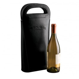 Black Debossed Leather Double Wine Carrier