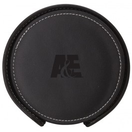 "Black Debossed 4 1/4"" Stitched Round Coaster Set"