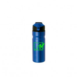Blue / Black 24 oz. Aluminum Flip Top Water Bottle