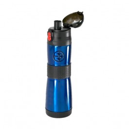Blue / Black 15 oz Engraved Easy-Grip S/S Vacuum Water Bottle
