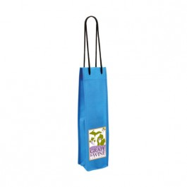 Blue Non-Woven Single Wine Bottle Bag (Full Color)