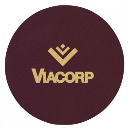 Burgundy Foil Imprinted Round Leather Coaster