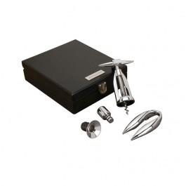 Chrome Laser Etched Wooden Box Corkscrew Set