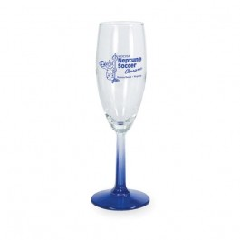 Clear / Blue 5 3/4 oz Neonware Glass Champagne Flute