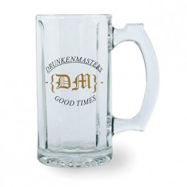 Clear 12 oz Glass Paneled Beer Stein