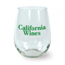 Clear 17 oz Stemless Wine Glass