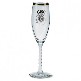 Clear 5 3/4 oz Clear Swirl Stem Glass Champagne Flute
