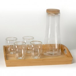 Clear 8 oz Binara Set w/Tray and Carafe