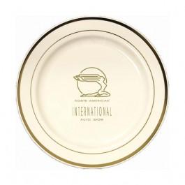 "Ivory / Gold 10.25"" Premium Plastic Plate w/ Trim"